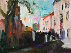 Granada: Lights and Shadows Cityscape (http://annafineart.net/) Tags: expressionism imprrssionist contemporary modernart gallery artstudio spain pleinair oilcolors mixed mixedmedia modern landscape landscapes annafineart abstract abstractart abstractpainting art arts painter dailypainter artist oil painting paintings fineart finearts oilmedia oilpainting impasto cityscape city town granada spanish cityscapes street