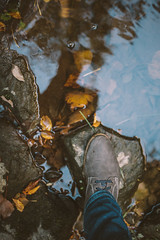 OCT-16 - The Game is Afoot (Macro_Polo) Tags: shoe reflection water rocks 365 fall leaves