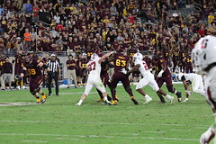 ASU vs Stan 889 (Az Skies Photography) Tags: arizona state university asu arizonastateuniversity arizonastate tempe az tempeaz football college collegefootball sport sports sportsphotography action athlete athletes athletics punt kick pass run sun devil devils sundevil sundevils asusundevils stanford cardinals stanfordcardinals asuvsstanford october 18 2018 october182018 101818 10182018 canon eos 80d canoneos80d eos80d canon80d