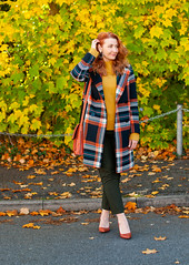 Dressing in Bold, Saturated Autumnal Colours \ check statement coat \ bottle green trousers \ burnt orange heels \ burnt orange suede messenger bag \ mustard yellow sweater | Not Dressed As Lamb, over 40 style (Not Dressed As Lamb) Tags: autumn fall style fashion next outfit ootd dressing warm coat winter aw18