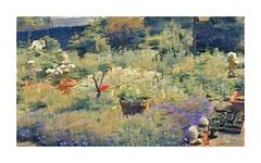 Souvenirs d'été.A lovely garden. (busylvie) Tags: jardin photoretouchée impressionisme massifs fleurs violettes bordures cactus plantations boutures jardinières naindejardin rosiers potsdefleurs clôture arbustes effect impressionnisme