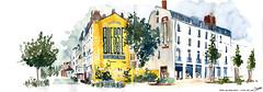 Rue grande Biesse - Nantes (cmoreauart) Tags: streetart art yellow mural nantes grande biesse street urbansketch urbansketchers france usk