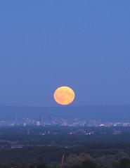 M6 MoonRise (JodBart) Tags: harvestmoon moon view landscape manchester motorway yellow blue autumn wigan winstanley windyarbour m6