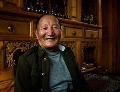 Tibetan at Home (Rod Waddington) Tags: china chinese yunnan shangrila tibetan grandfather loungeroom house home cupboard carving indoor people portrait culture cultural ethnic ethnicity