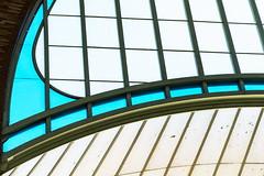 Mercado de Colón (Maerten Prins) Tags: spain spanje valencia mercado mercadodecolón colon colón window windows line lines curve curves blue jugendstil architecture composition abstract geometry geometric mercat spikes antipidgeon