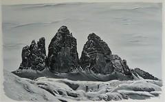 Tre Cime di Lavaredo acrylique sur toile 116x73cm À VENDRE
