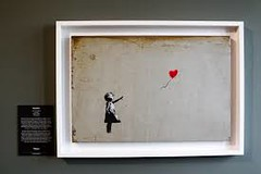 """Girl With Balloon,"" Banksy Painting Artwork selfdestructs After Selling For almost $1.9 Million at Auction (anna_shirk4) Tags: ""girl with balloon "" banksy painting artwork selfdestructs after selling for almost 19 million auction"
