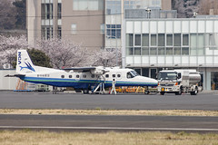 A SMALL AIRPORT, SOME PARKS AND CLOUDS - CLXXV (Jussi Salmiakkinen (JUNJI SUDA)) Tags: chofu tokyo tokio japan japani cityscape park airport sky aircraft wood airplane landscape tama 調布 飛行場 空港 林 森 空 武蔵野 多摩 東京 日本 風景 clouds spring 2018 kevät maaliskuu flower cherryblossoms turboprop dornier do228 apron refueling