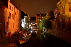 In Bruges (Valantis Antoniades) Tags: brugge brussels flemish architecture flanders night canal belgium