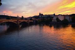 Sunset on the Vltava (laurenspies) Tags: czechrepublic europe moldau prague praha staréměsto vltavariver čechy českárepublika hlavníměstopraha czechia cz sunset river praguecastle stvitus bridge