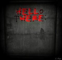 Hell (Loegan Magic) Tags: secondlife theyards hell window neonsign postapocalyptic sitting blackandwhite splashofcolor male
