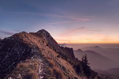 Fading light (chriscom) Tags: switzerland sunset peak mountain outdoors scenic ridge sky fog autumn hiking