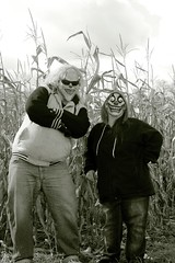 Menace and Broken are at it again. (PhotoJester40) Tags: outdoors outside together broken menace clowns mask cornfields amdphotographer havingfun posing bnw blackwhite blacknwhite noirblanc bw sunglasses