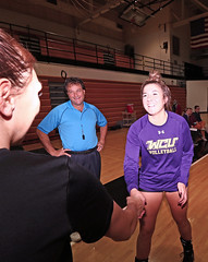 IMG_7082 (SJH Foto) Tags: girls college volleyball millersville west chester university mu canon 1018 f4556 stm superwide lens pregame ceremonies ref referee captains coin toss