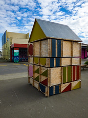Maths Examples for Architects (Steve Taylor (Photography)) Tags: art architecture design sculpture building hut blue brown green pink plywood newzealand nz southisland canterbury christchurch newbrighton shape rectangle oblong circle triangle sky cloud tinyhuts