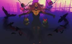 #197 - Invocation of the crows. 🎃 (rhavena.rasmuson) Tags: dark darkness follow4follow follow4followback fav4fav witch crow ravens salem2018 dirtyprincess maitreya gacha moonamore secondlife secondolife secondlifeavatar slavi slavatar yokai brujas