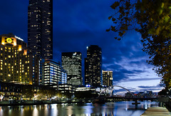 Southbank and Yarra River, Melbourne (Paul Cook59) Tags: cityscape river melbourne australia city night water skyline reflection tree building sky dusk blue hour bridge