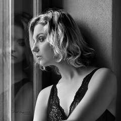 Looking through the window (piotr_szymanek) Tags: sonia soniak blackandwhite portrait studio face blonde woman young skinny transparent lingerie window reflection 1k 20f 50f 100f