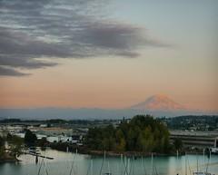 mountain sunset (ekelly80) Tags: tacoma washington august2018 summer evening night sunset port portoftacoma view sky colors clouds light eveninglight pink water harbor mountrainier mountain