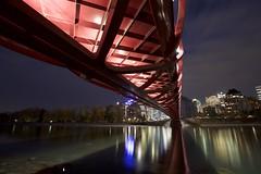 its the Peace Bridge (John Andersen (JPAndersen images)) Tags: alberta bowriver bridge calatrava calgary city colour day evening fall night pond skyline sunset trees