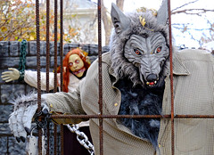 Who's Afraid of the Big Bad Wolf? (Colorado Sands) Tags: halloween lakewood colorado usa sandraleidholdt display decoration lakewoodcolorado wolf rebar scary cage lockhimup