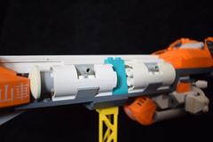 Space Tanker Eubalaena (Harding Co.) Tags: lego space scifi spaceship flying vehicle future freighter tanker fin wing cockpit whale latin orange white wings tanks minifigure grey black teal eubalaena right
