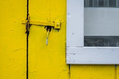 Latch On (vanessa violet) Tags: happywindowwednesday hww window wednesday wood house home door latch latchon yellow white texture paint