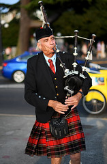 Piper Piping (Anthony Mark Images) Tags: people portrait oldergentleman senior greyhair piper piping bagpipes kilt redkilt music jacketandtie redtie blackcap scottish victoria bc britishcolumbia canada streetmusician nikon d850 streetphotography candid