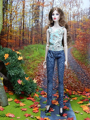 """Paisley jeans from """"Falling leaves"""" collection (Levitation_inc.) Tags: ooak doll dolls clothes handmade levitation levitationfashion fashion fashions royalty barbie nuface fr2 madetomove made move autumn fall 2018 forest wood diorama"""