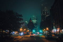 Misty night (A Great Capture) Tags: fog foggy mist clouds outdoor outdoors outside overcast cloudy cityscape urbanscape eos digital dslr lens canon 70d city downtown lights urban night dark nighttime agreatcapture agc wwwagreatcapturecom adjm ash2276 ashleylduffus ald mobilejay jamesmitchell toronto on ontario canada canadian photographer northamerica torontoexplore fall autumn automne herbst autunno 2018 weather skyline towers tower buildings structure scenery scenic wet water agua eau darkness nocturnal illuminate lighting gooderham building flatiron td trust