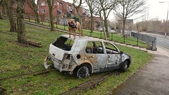 Vw golf (X Joyrider (0151)) Tags: burnt out car north liverpool vandalised vehicle joyriders joyride stolen robbed pitbull terrier dog rusty rust bbc itv news willis merseyside england uk gangster yobs chavs nicked dumped burned motor theif crime police vw golf