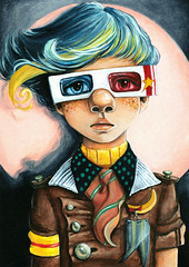 Friese (Freeze) (loakes.art) Tags: friese freeze 3d glasses movie cinema film spotlight adventure illusion child quirky whimsical whimsy children lisaoakesart freckles blue red pink yellow round cute adorable clever pioneer experience enhance love cool perception eyes character boy
