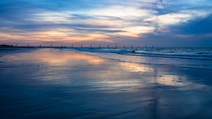 Lombardsijde I I I I I I I ..... (de_frakke) Tags: lombardsijde palen zonsondergang strand zee kust noordzee beach evening subdown reflections