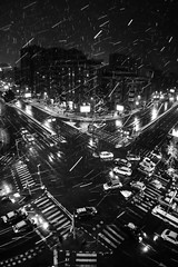 February 27, 2018 (Zlatko Parmakovski) Tags: night dark black noir snow snowflakes lines white longexposure street city topview streetphotography sky skopje скопје huawei p10 leica cold winter wind nocturnal blackandwhite