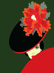 peony woman (illustrationvintage) Tags: woman female beautiful beauty attractive person style background adult lifestyle elegance isolated black stylish studio looking image figure glamour dress design cute pretty modern luxury model people fashion lady young girl elegant brunette red fur hat peony flower