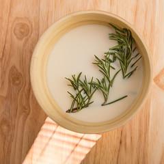 Milk and rosemary (annick vanderschelden) Tags: nilk dairy beverage liquid herb rosemary branch infusion taste flavour wood bamboo lazysusan food preparation ingredient cuisine culinary belgium