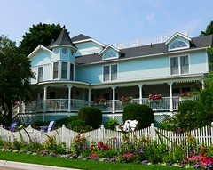 blue Victorian (ekelly80) Tags: michigan mackinacisland august2018 summer upnorth puremichigan blue victorian house cute beautiful white fence colors flowers