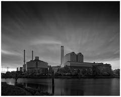 Power Plant #2 (T.Seifer : )) Tags: blackandwhite bw blackwhite architecture clouds outside longexposure monochrome outdoors photography whiteandblack whiteblack building waterfront hamburg power plant