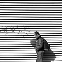In front of the lines (pascalcolin1) Tags: paris13 homme man mur wall lignes lines photoderue streetview urbanarte noiretblanc blackandwhite photopascalcolin 50mm canon50mm canon