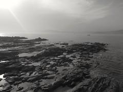 Rock (DAVID MARCHENA) Tags: blackandwhite dramaticlandscape landscape sea see seascape sky sun sunlight rocas rock galicia spain clouds summer horizont coast atlanticcoast contraluz calma calm cape ocean atlanticocean