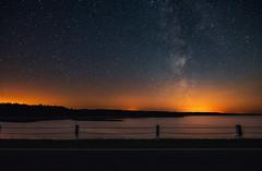 Lake Vileyka (free3yourmind) Tags: lake vileyka vileika belarus dark skies milky way night sky stars starry bridge lights moody