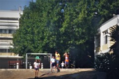 . (*F~) Tags: lisbon lisboa portugal school kids playing playground time thehours transparence sunshine layers people waiting diary journal