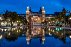 I amsterdam (Trent's Pics) Tags: nightphotography amsterdam architecture city cityscape clouds dutch holland lights museum netherlands night reflection reflections rijksmuseum water sunrise bluehour sky