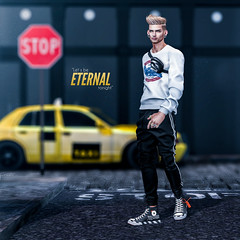 Let's be eternal tonight (Satuex Resident) Tags: equal10 event mossu bleich legal insanity wrong legalinsanity satuex angelking angel king joggers trainers sneakers backdrop urban pose bento mesh sweatshirt fanny fannypack eternal tonight night casual male dude gay guy