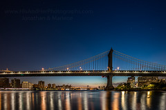 Manhattan Bridge (HisPhotographs.com) Tags: newyork bridge manhattanbridge bluehour newyorkcity brooklyn river eastriver reflections night dawn sunrise blue sky ny nyc buildings architecture longexposure