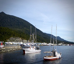 Troller Bjorka and a double ender (chartan) Tags: trollers workingboats fishingboats ketchikan alaska
