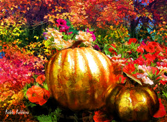 Thoughts Of Fall (brillianthues) Tags: fall pumpkins gold trees leaves flowers floral nature colorful collage photography photmanuplation photoshop