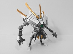 Akimbo (AlexParkDesigns) Tags: robot mecha mech bot white armor sword gold figure toy lego bionicle technic scene