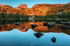 Bear Lake Sunrise (chasingthelight10) Tags: photography events travel landscapes mountains places colorado rockymountainnationalpark spraguelake morainepark bearlake emeraldlake dreamlake trailridgeroad horseshoepark things rockymountainelk lakes forests foliage sunrise otherkeywords aspens autumn trees wildlife estespark