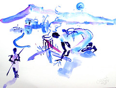 AFRICA TO THE NAKED 258 (eduard muntada) Tags: africa to the naked 258 watercolor essential drawing purple blue mountains survive africanpeople